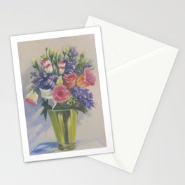 Various blooms in brass vase - Still life 5 in a Series of 10 Stationery Cards