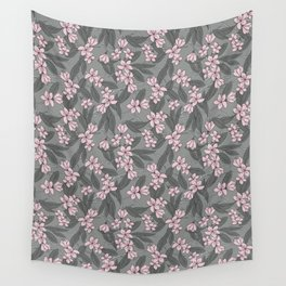 Sakura Branch Pattern - Ballet Slipper + Neutral Grey Wall Tapestry