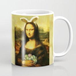 Easter Mona Lisa with Bunny Ears and Colored Eggs Coffee Mug