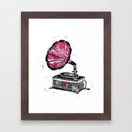 Linocut Gramophone Framed Art Print