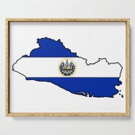 El Salvador Map with Salvadoran Flag Serving Tray
