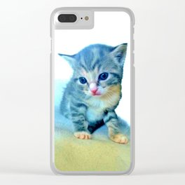 Cute Colorful Cat Couple Clear iPhone Case