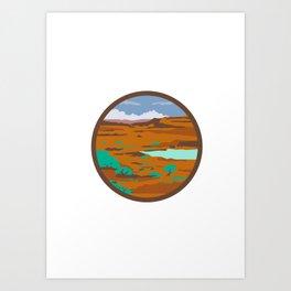 Desert Scene Circle Retro Art Print