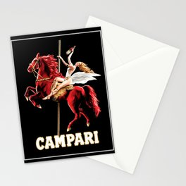 Vintage Campari Italian Bitters Woman and Red Horse Advertisement Stationery Cards