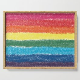 LGBTQ+ Pride Flag Crosshatch Design Serving Tray