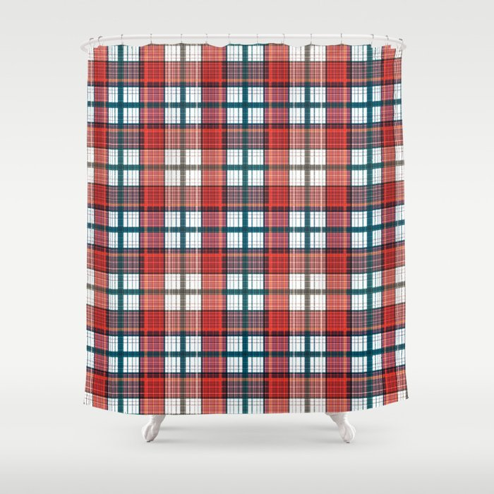 Colorful Red Grey Plaid Shower Curtain