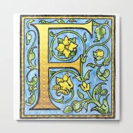 Monogram Initial Alphabet Letter 'F' Metal Print