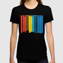 Retro 1970's Style West Hartford Connecticut Skyline T-shirt