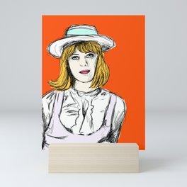 Pauline on Orange Mini Art Print