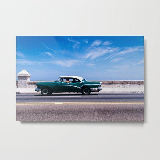 Vintage green car Metal Print