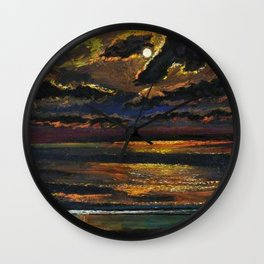 'Moonlight Over a Dark Ocean' coastal landscape painting by F. Cook Wall Clock