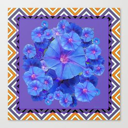 Purple Western Pattern Blue Morning Glory Floral Art Canvas Print