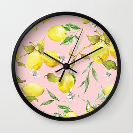 Watercolor lemons 9 Wall Clock