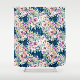 NAVY SO LUSCIOUS Colorful Watercolor Floral Shower Curtain