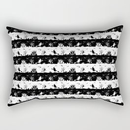 Black and White Halloween Nightmare Stripes Rectangular Pillow