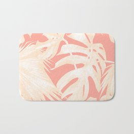 Tropical Coral Pink Palm Leaf Pattern Bath Mat