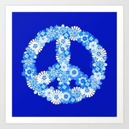 Peace Sign Floral Blue Art Print