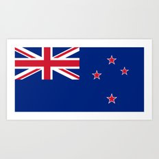 National flag of New Zealand - Authentic version (scale and color) High Quality image Art Print