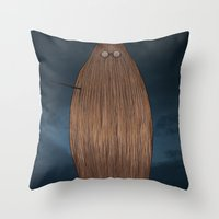 potter Throw Pillows featuring Hairy Potter by AParry