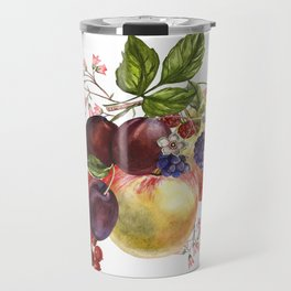 Composition of realistic fruits on a white background in vintage style. Apples, raspberries, plums, Travel Mug