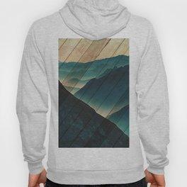 Faux Wood Misty Blue Silhouette Mountain Range Rustic Landscape Photograph Hoody