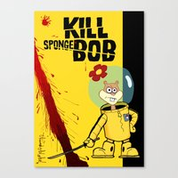 spongebob Canvas Prints featuring Kill Spongebob by thunderbloke!