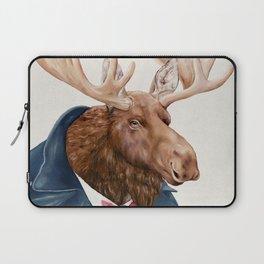 Moose in Navy Blue Laptop Sleeve