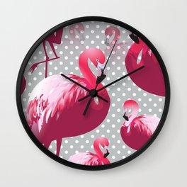 Watercolor Flamingo Pattern 6 Wall Clock