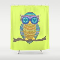 henna Shower Curtains featuring Henna Owl by haleyivers