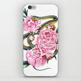 Garter Snake and Peonies iPhone Skin