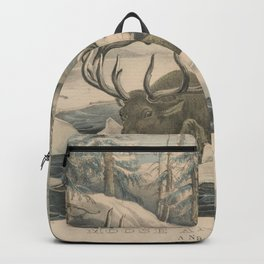 Vintage Wolf Pack Hunting a Moose Illustration Backpack