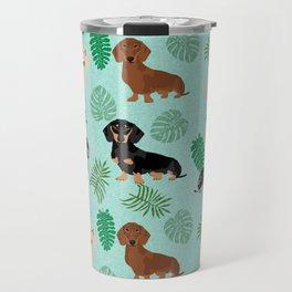 dachshund summer tropical monstera palms dog breed pure breed pets Travel Mug