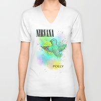nirvana V-neck T-shirts featuring polly / nirvana by Dan Solo Galleries