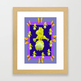 Golden Butterflies Yellow Iris Purple Pattern Art Framed Art Print