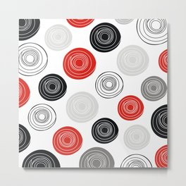Red black gray oval circles Metal Print