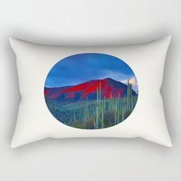 Mid Century Modern Round Circle Photo Red Mountain Sunset With Field of Green Cactus Rectangular Pillow