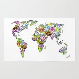 flowers in the world map . artwork Rug