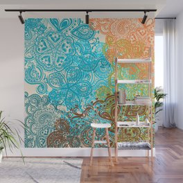 Indian boho pattern with ornament in blue, ornage and green Wall Mural