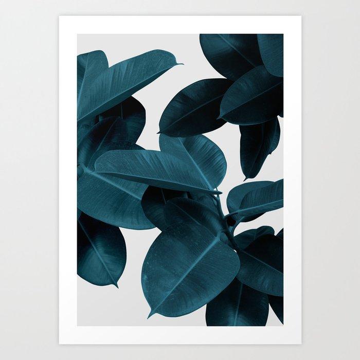 Indigo Blue Plant Leaves Art Print
