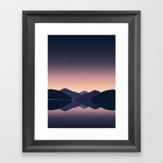 Mountain sunset reflection Framed Art Print