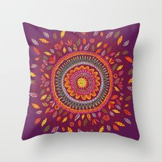 Leafy Fall Mandala Throw Pillow