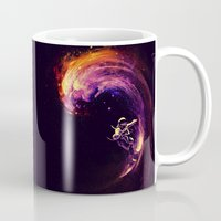surfing Mugs featuring Space Surfing by nicebleed