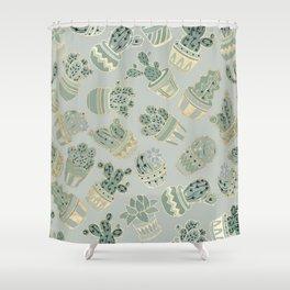 Mint green black faux gold cactus floral Shower Curtain