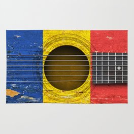 Old Vintage Acoustic Guitar with Romanian Flag Rug