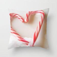 Candy Cane Heart Throw Pillow