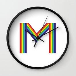 Rainbow Monogram - Letter M Wall Clock