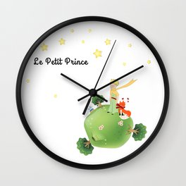 The Little Prince, with the fox and planet Wall Clock