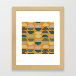 Geometric Graphic Design Shapes Pattern in Mustard Yellow Framed Art Print