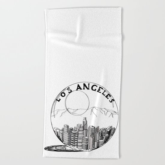 Los Angeles in a glass ball Beach Towel