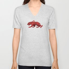 Red panther on blue grass Unisex V-Neck